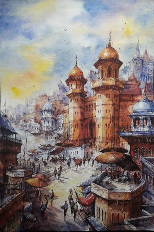 The beauty of Benaras-1 by Shubhashis Mandal, Impressionism Painting, Watercolor on Paper, Cotton Seed color