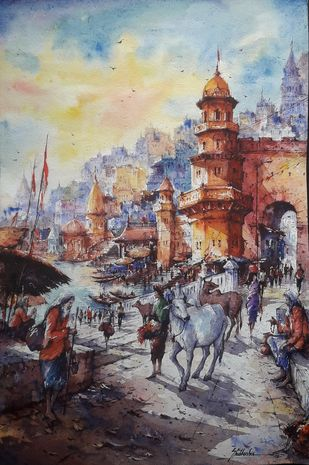 The beauty of Benaras-2 by Shubhashis Mandal, Impressionism Painting, Watercolor on Paper, Delta color
