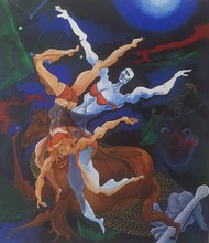 Circus II by DEB SANJOY DUTTA, Expressionism Painting, Acrylic on Canvas, Thunder color
