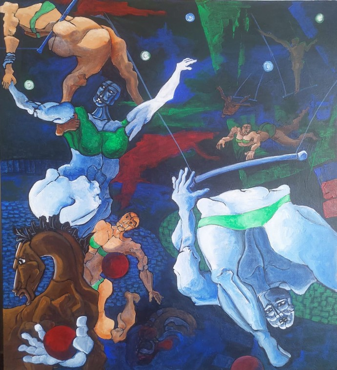 Circus I by DEB SANJOY DUTTA, Surrealism Painting, Acrylic on Canvas, Fiord color