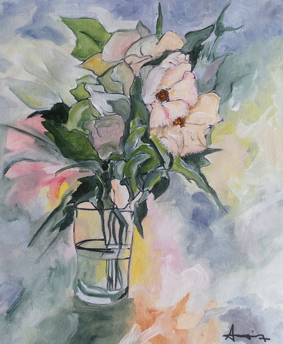 Flowers 1 by DEB SANJOY DUTTA, Impressionism Painting, Acrylic on Canvas, Cloudy color