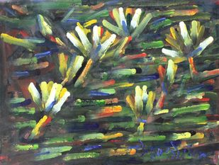 Lilies-4 by Uttam Bhowmik, Abstract Painting, Watercolor on Paper, Fuscous Gray color