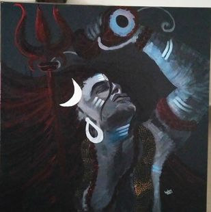 Shiv by Anissha Deshpande, Expressionism Painting, Acrylic on Canvas, Baltic Sea color