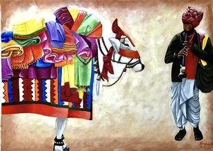 Boom boom cow - Gangireddu by Kangana Vohra , Expressionism Painting, Acrylic & Ink on Canvas, Foggy Gray color