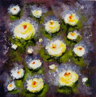 White Roses on Violet by Indrani Ghosh, Abstract Painting, Acrylic on Board, Taupe color