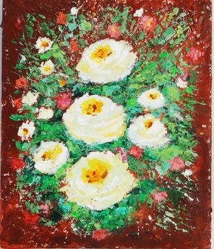 White Roses in wilderness by Indrani Ghosh, Abstract Painting, Acrylic on Board, Quill Gray color