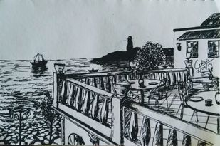 Terrace Cafe by Cedric Gonsalves, Illustration Drawing, Pen on Paper, Submarine color
