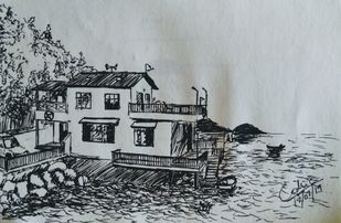 Holiday Home by Cedric Gonsalves, Illustration Drawing, Pen on Paper, Shark color