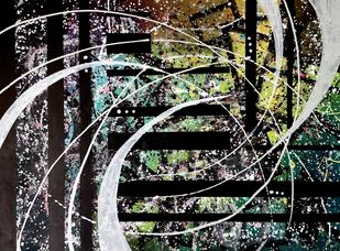 Swirl by Rishail , Abstract Painting, Acrylic on Canvas, Celeste color