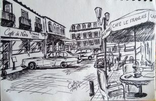 Street Cafe by Cedric Gonsalves, Illustration Drawing, Pen on Paper, Ship Gray color