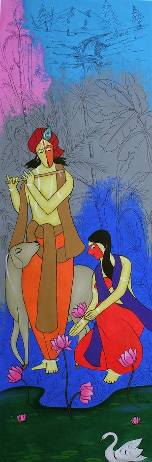 Yashoda nandan by Chetan Katigar, Expressionism Painting, Acrylic on Canvas, Slate Gray color
