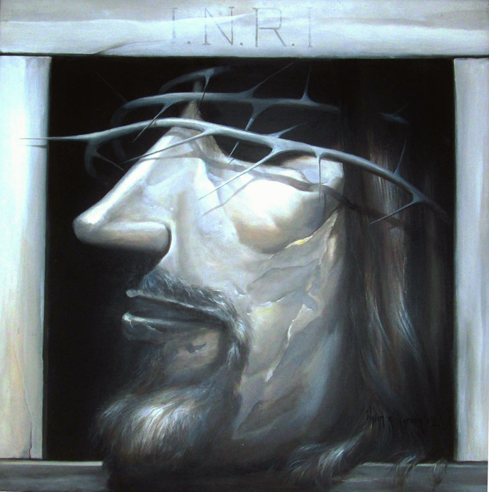 Christ by Wasim R Kapoor, Expressionism Painting, Oil on Canvas, Shark color