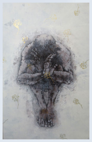 No more promise by Satyabrata Adhikary, Expressionism Painting, Acrylic on Canvas, Silver Sand color