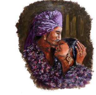 Amour by Hrishikesh Belgudri, Impressionism Painting, Acrylic on Paper, Woody Brown color