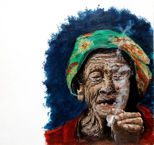 MAASILA by Hrishikesh Belgudri, Impressionism Painting, Acrylic on Paper, Ebony Clay color