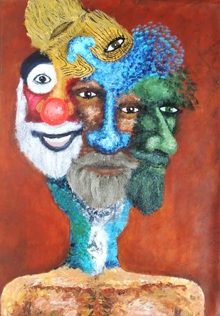 S P L i T by Hrishikesh Belgudri, Expressionism Painting, Acrylic on Canvas, Brown Rust color