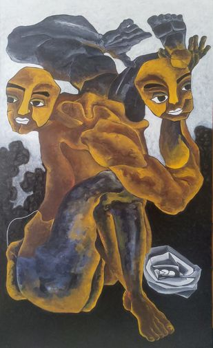 Circus for a living by DEB SANJOY DUTTA, Fantasy Painting, Acrylic on Canvas, Masala color