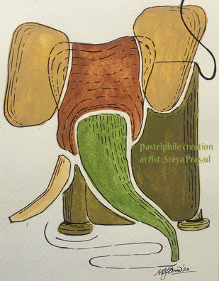 The Pastelphile Elephant by Sreya Prasad , Expressionism Painting, Pen, pencil, watercolour on paper, Sisal color
