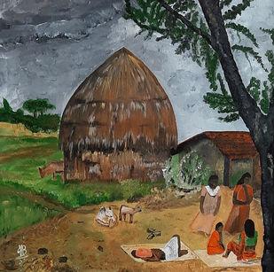 Village 02 Digital Print by Tejal Bhagat,Expressionism