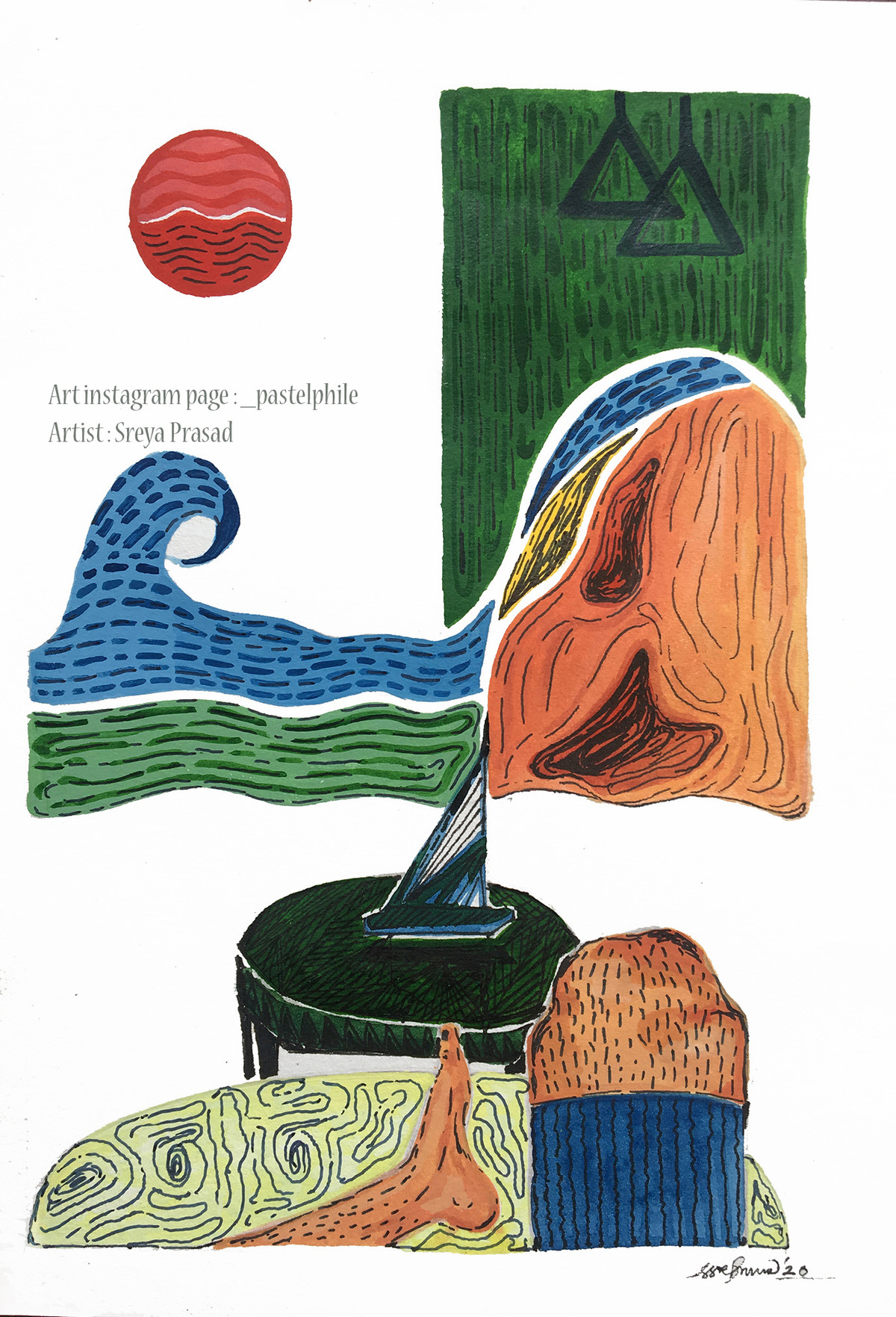 Surfing the giant life wave! The Pastelphile Beach Digital Print by Sreya Prasad ,Pop Art