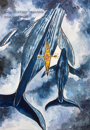 Blue Whales and Boat by Sreya Prasad , Impressionism Painting, Watercolor on Paper, Blue Bayoux color