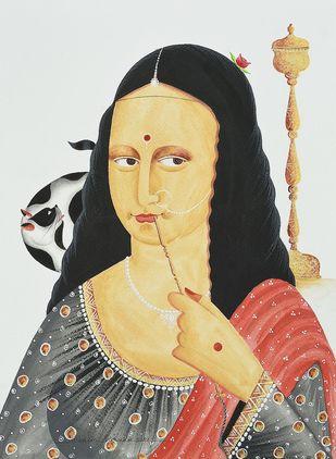 Mona Lisa at Kalighat by Bhaskar Chitrakar, Folk Painting, Natural colours on paper, White Rock color