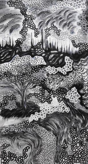 Labyrinth- I by Hrishikesh Belgudri, Expressionism Painting, Acrylic on Canvas, Tuna color