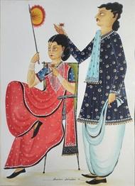 Babu-Bibi by Bhaskar Chitrakar, Folk Painting, Natural colours on paper, Tuna color