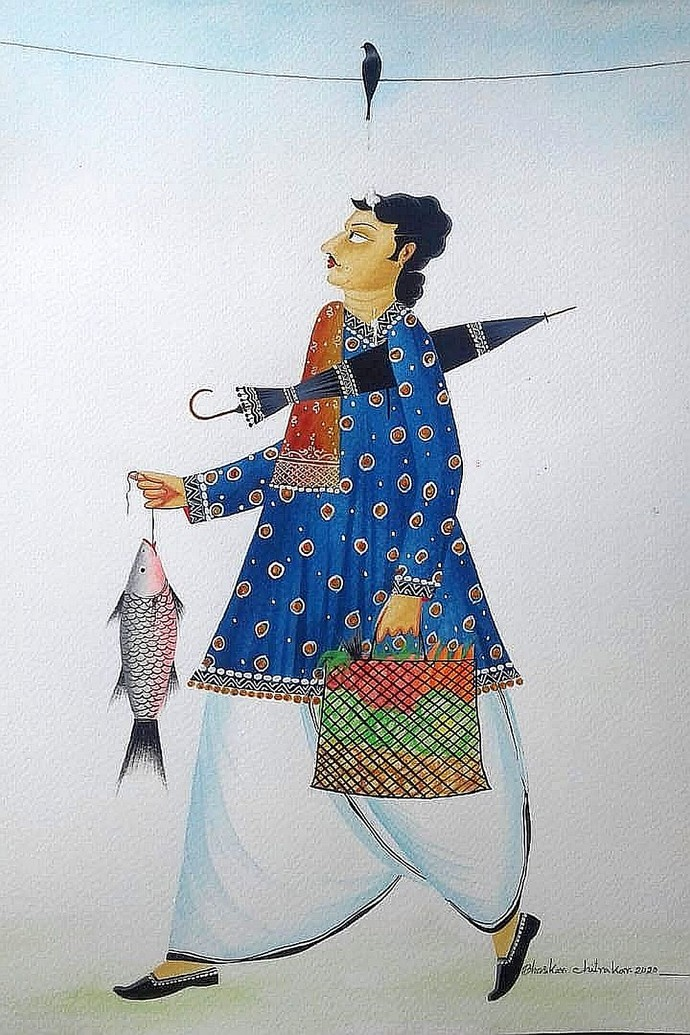 Babu getting crow's 'blessings' by Bhaskar Chitrakar, Folk Painting, Natural colours on paper, Iron color