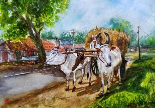 Rural Beauty by Sabari Girish T, Impressionism Painting, Watercolor on Paper, Loblolly color
