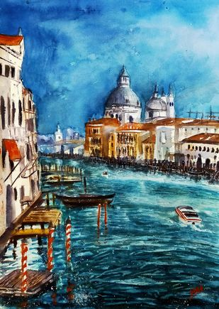 Beauty Of Venice by Sabari Girish T, Expressionism Painting, Watercolor on Paper, Outer Space color