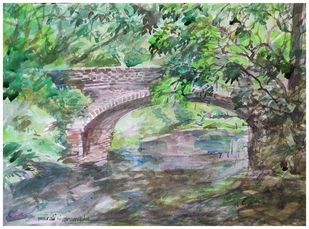 The Bridge by Murali Sivaramakrishnan, Impressionism Painting, Watercolor on Paper, Camouflage Green color