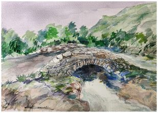 The Bridge 3 by Murali Sivaramakrishnan, Impressionism Painting, Watercolor on Paper, Gurkha color