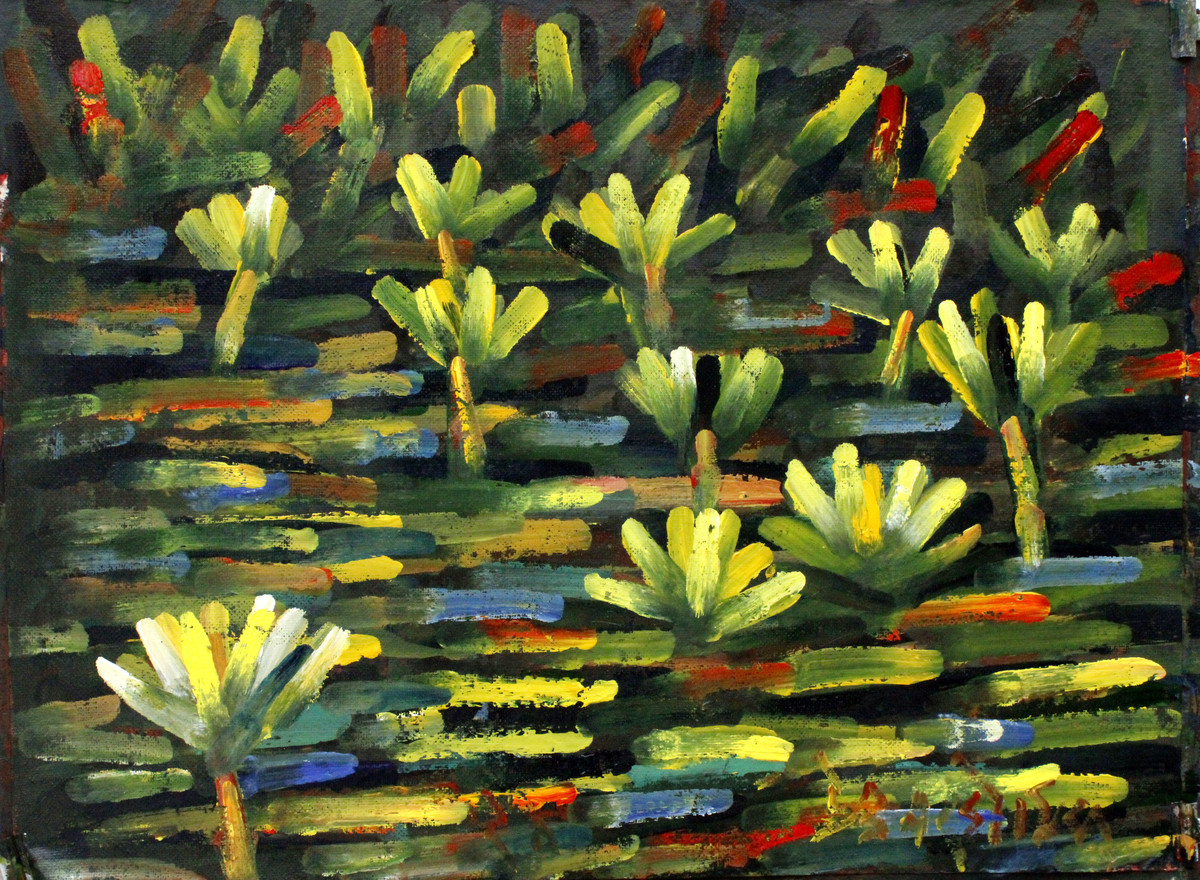 Lilies-5 by Uttam Bhowmik, Abstract Painting, Watercolor on Paper, Rangitoto color