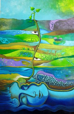 Timeless Journey Digital Print by Antra Srivastava,Expressionism