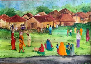 Village Scene 3 by Kajal Nalwa, Impressionism Painting, Watercolor on Paper, Asparagus color