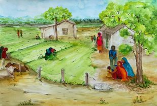 Village Scene 5 by Kajal Nalwa, Impressionism Painting, Watercolor on Paper, Green Smoke color
