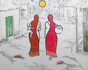 Born Free -Village scene 1 by Kajal Nalwa, Impressionism Painting, Acrylic on Canvas, Pumice color