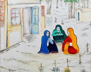 Born Free - Village scene 2 by Kajal Nalwa, Impressionism Painting, Acrylic on Canvas, Celeste color