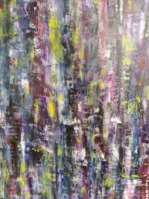 Flowerbed by Deepali Sinha, Abstract Painting, Acrylic on Canvas, Hurricane color
