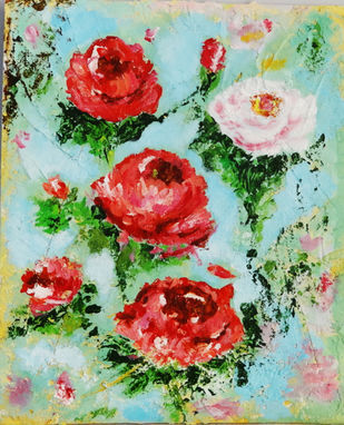 Wild Roses by Indrani Ghosh, Expressionism Painting, Acrylic on Board, Spring Rain color