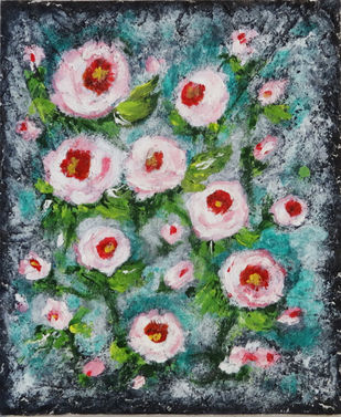 White Wild Roses by Indrani Ghosh, Expressionism Painting, Acrylic on Board, Nandor color