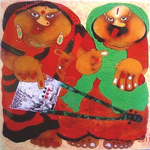 """Bawa Biwi, Oil on Acrylic Sheet by Contemporary Artist """"In Stock"""" by Shyamal Mukherjee, Expressionism Painting, Oil on Acrylic Sheet, Killarney color"""