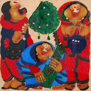 Bawa Biwi by Shyamal Mukherjee, Expressionism Painting, Oil on Acrylic Sheet, Tall Poppy color