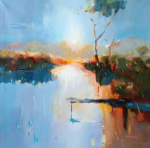 'Harmony of Nature Series 2' by GN Madhu, Abstract Painting, Acrylic on Canvas, Rock Blue color