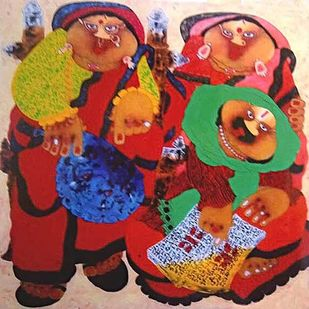 Bawa Biwi by Shyamal Mukherjee, Expressionism Painting, Oil on Acrylic Sheet, Sweet Brown color