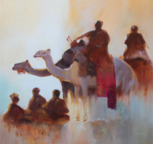 'Desert story series 1' by GN Madhu, Impressionism Painting, Acrylic on Canvas, Buccaneer color