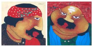 Bawa Biwi (Set of 2) by Shyamal Mukherjee, Expressionism Painting, Oil on Acrylic Sheet, Apple Blossom color