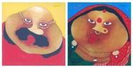 Bawa Biwi by Shyamal Mukherjee, Expressionism Painting, Oil on Acrylic Sheet, Contessa color