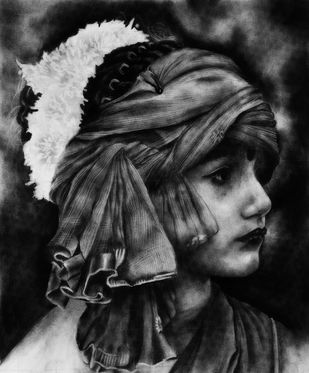 The Tradition by Sohel Reja, Expressionism Drawing, Charcoal on Paper, Silver color